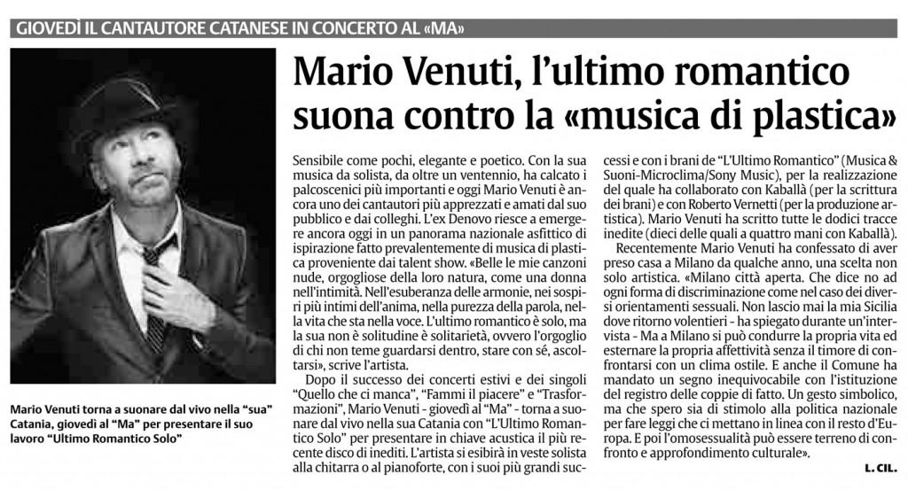 mario venuti concerti tour 2013 rassegna stampa